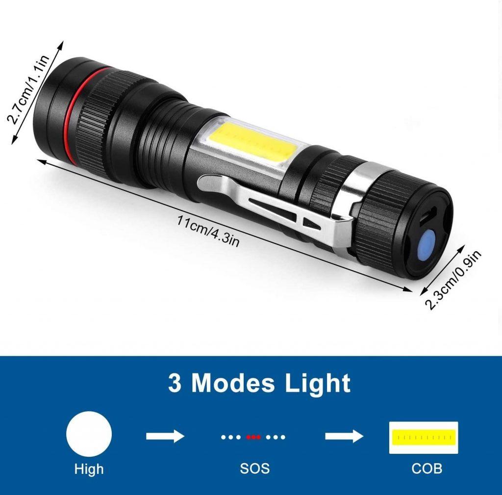 CoaTaco Rechargeable LED Flashlight T6 with Cob Sidelight