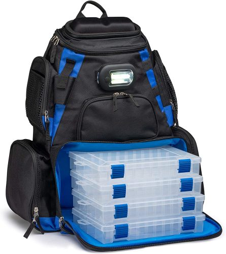 Vexan Fishing Removable LED Lighted Tackle Box Backpack